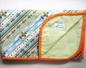 flannel snuggle/swaddle blanket-green and blue and airplanes-Riley Blake