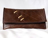 OOAK Leather Wallet Pouch With Studs & Curve Stitching