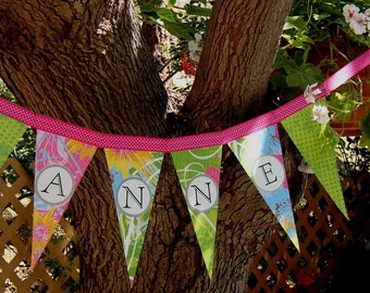 Personalized Name Sign - Custom Name Banner Party Decoration Pennant Bunting