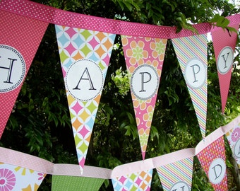 Happy Birthday Banner Party Decoration / Garland /  Bunting / Pennant