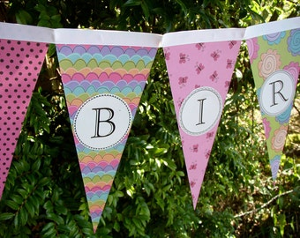 Happy Birthday Party Banner / Garland / Bunting / Pennant Decoration