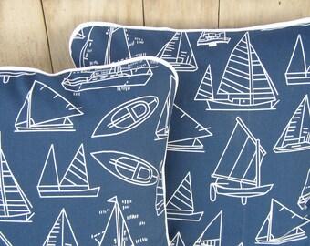 Pillow Set - Cushion Covers  Navy Blue & White Sailboats - White Trim - TWO 16x16