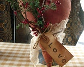 Primitive Valentines Heart On Old Rusty Spring MADE TO ORDER