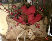 Primitive Valentines Love Letter With Hearts Shelf Sitter made to order