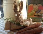 Primitive Easter Spring Bunny Rabbit Shelf SItter with Sweet Annie