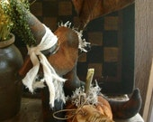 Primitive Fall Halloween Witches Boots with Hat Pumpkin and bat