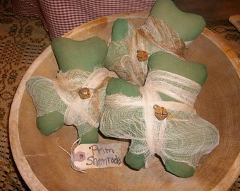 3 Primitive St Patricks Day Shamrock Bowl Fillers Wrapped In Stained Cheesecloth