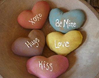 5 Primitive Valentines Conversation Heart Bowl Fillers MADE TO ORDER