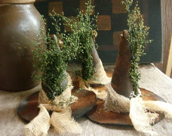 3 Primitive Halloween Witches hat Bowl Fillers