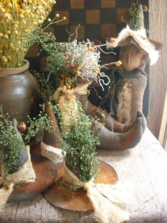 Primitive Halloween Witches Boots Hats and Witch Gathering