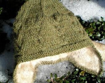 Handknit Earflap Baby Hat from Handspun Angora and Merino