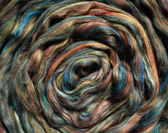 "Ashland Bay Multi Colored Merino for Spinning or Felting ""Riverstone""  4 oz."