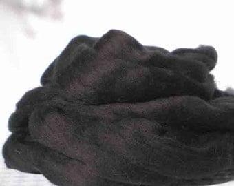"Ashland Bay Solid Colored Merino for Spinning or Felting ""Black""  4 oz."
