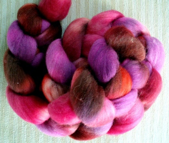 """Corriedale Hand Dyed Combed Top 4 Oz.  """"Roses & Candy"""""""