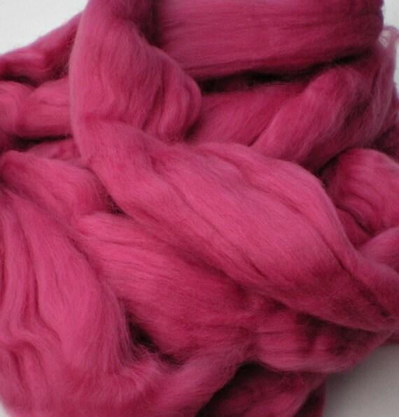 "Ashland Bay Solid Colored Merino for Spinning or Felting ""Fuschia""  4 oz."