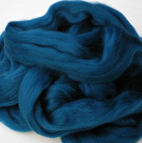 """Ashland Bay Solid Colored Merino for Spinning or Felting """"Teal""""  4 oz."""