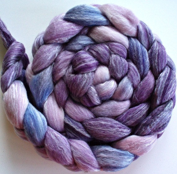 "Merino/Bamboo Hand Dyed Combed Top 4 Oz. ""Shades of Purple"""