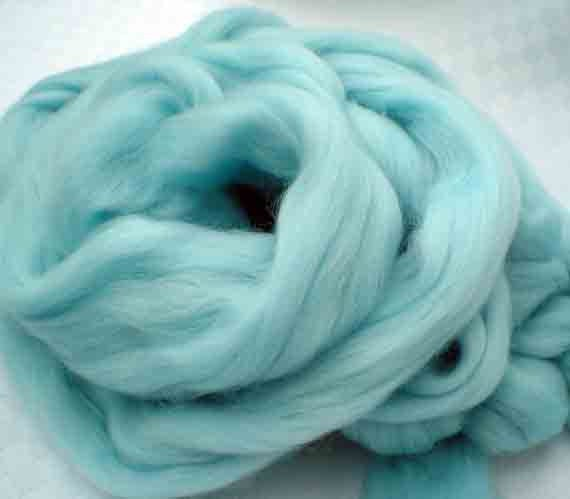 """Ashland Bay Solid Colored Merino for Spinning or Felting """"Ice Blue""""  4 oz."""