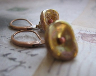 Gold-Picasso Glass flower Earrings