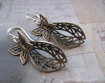 Ox Silver Filigree And Butterfly Earrings