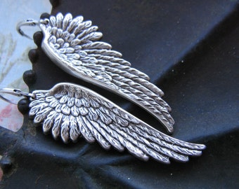 Gorgeous Ox Silver Angel Wings Earrings