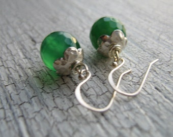 Sterling Silver Green Onyx Earrings