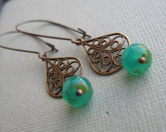 Brass Filigree and Glass Earrings