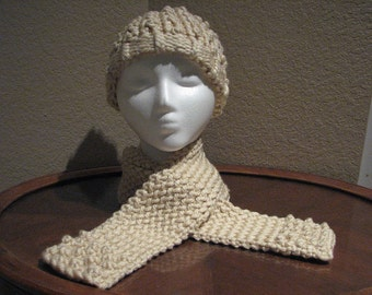Womens and Girls Hand knitted popcorn stitch hat and scarf set in cream color