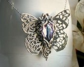10% OFF SALE o Psyche Aged Silver and Swarovski Necklace - Silver - Purple - Pink - Butterfly - Love - Fantasy - Romantic - Bridal