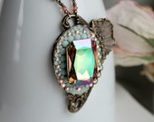 Waterlily Aged Brass and Swarovski Necklace - Rainbow - Mint - Pink - Fantasy - Spring - Floral - Water - Bridal