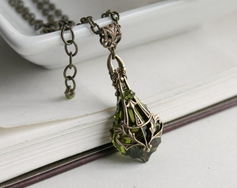 Aged Brass & Swarovski Necklace - Olivine - Green - Victorian - Nouveau - Fall Wedding - Bridal - Holidays - December