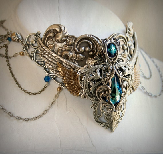 Orientalism Aged Silver and Swarovski Collar Necklace - Eyptian - Mythology - Victorian - Bridal - Blue - Silver - Goddess
