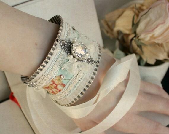 Camille Aged Silver, Swarovski and Bridal Cuff - Silver - Something Blue - Floral - Crystal - Wedding - Bridal - Victorian