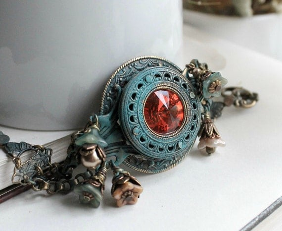 Echo and Narcissus Aged Brass and Swarovski Bracelet - Shabby Chic - Romantic - Floral - Wedding - Bridal - Pink - Red - Turquoise - Rainbow