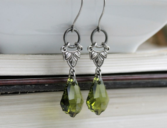 Mossy Gate Aged Silver and Swarovski Earrings - Green - Silver - Victorian - Garden - Nature - Romantic - Wedding - Bridal