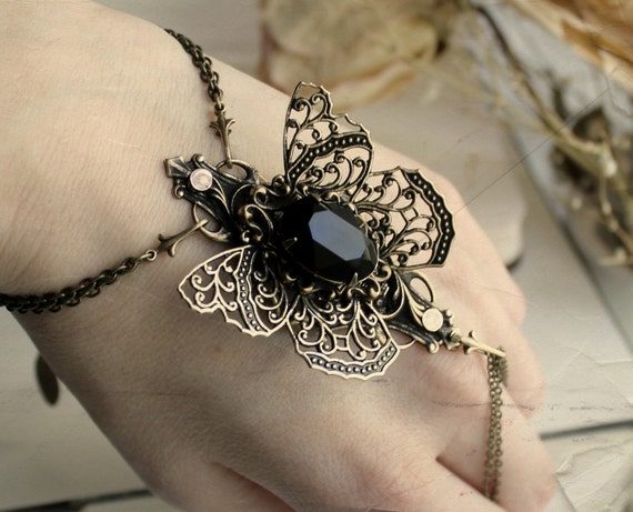 Black Mariposa Aged Brass and Swarovski Bracelet - Black - Butterfly - Steampunk - Gothic - Fantasy - Magic - Slave Bracelet