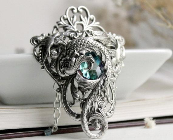 Maelstrom Nebula Aged Silver and Swarovski Necklace - Fantasy - Silver - Aqua - Purple - Pink - Water - Wedding - Bridal