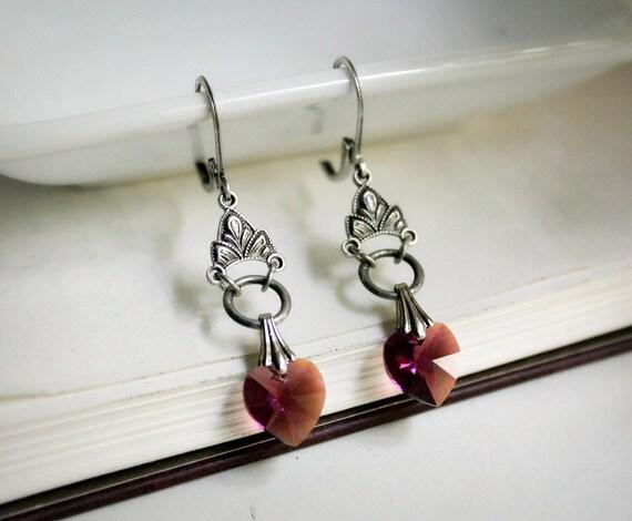 Sacred Heart Aged Silver and Swarovski Earrings - Purple - Amethyst - Silver - Heart - Love - Summer - Bridal