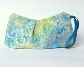 25 % Off Pleated Zipper Pouch Wrislet. Blue Bali Batik. Cosmetic Case. Gadget Case.