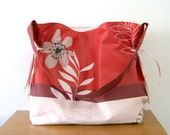 FREE SHIPPING - White Floral on Red Cotton Shoulder Bag
