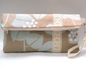 Blue Leaves on Creamy Brown Clutch with Vintage Ribbon