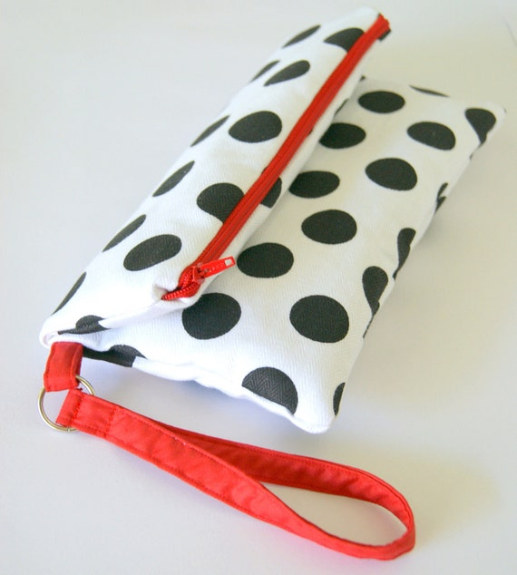 Black Polka Clutch