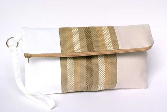 Brown and Olive Green Fold Over Clutch, Striped Fold Over Cotton Clutch