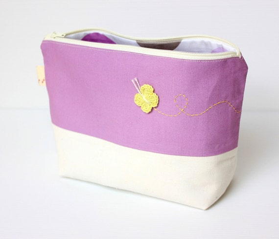 Purple Lilac Cosmetic Bag, Zipper Make Up Pouch with Crocheted Butterfly Applique
