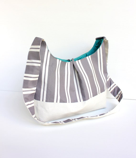 Nautical Body Sling Bag in Grey, White Stripes and Teal Green