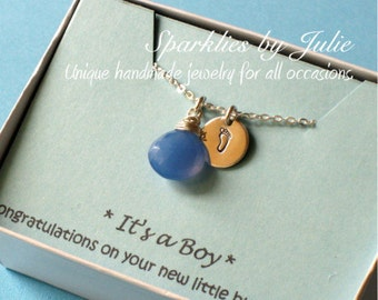 Baby Boy Necklace - Wire wrapped Blue Chalcedony briolette, hand stamped baby footprint charm, Baby Shower, Adoption, Mommy to Be, Mom