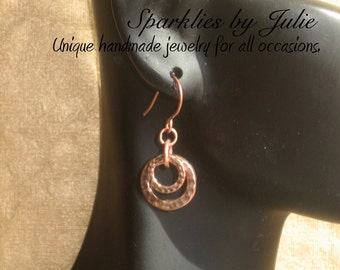 Copper Ripples earrings - Hammered, antique copper rings linked with copper jump rings, Celebrity Inspired