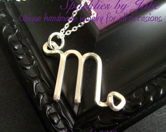 Scorpio Necklace  - Zodiac necklace, hand formed, sterling silver Astrological Symbol pendant