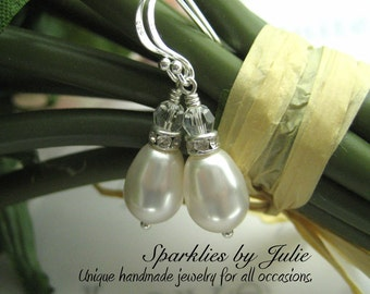 Crystal Topped Drop Pearl Earrings, Sterling Silver Components, Swarovski Crystallized Elements, Bridal Jewelry, Elegant