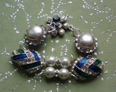 glamourous vintage rhinestone pearl assemblage bracelet~upcycled earrings~material girl~hollywood regency